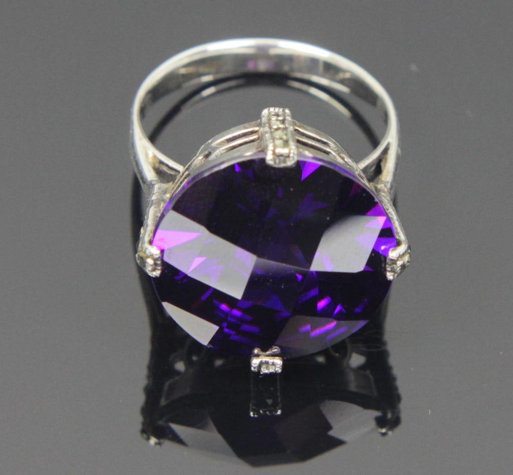 Sterling Silver Amethyst CZ Round Ring Size 10
