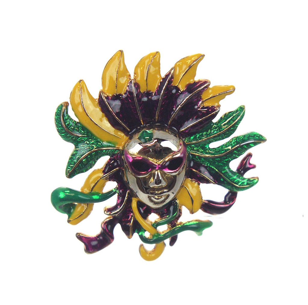 Mask with Feathers Pin/Pendant Mardi Gras