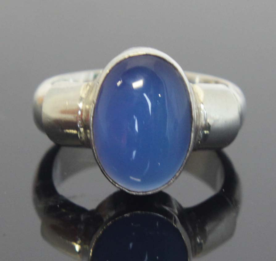 Sterling Silver Moonstone Ring Blue Size 6.5