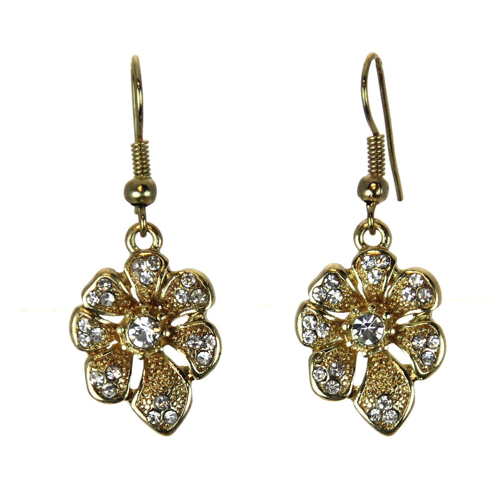Flower Rhinestone Earrings Gold