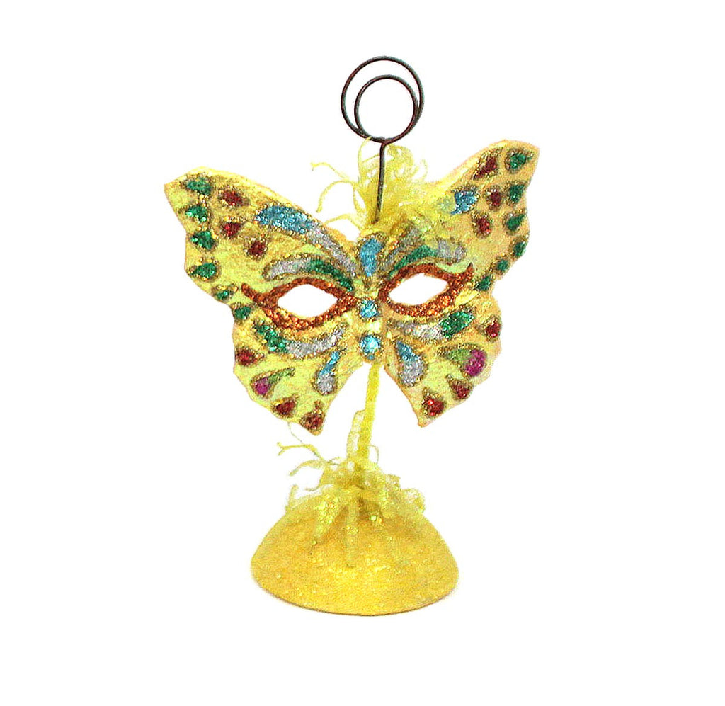 Butterfly Mask Picture/Place Card Holder - Yellow