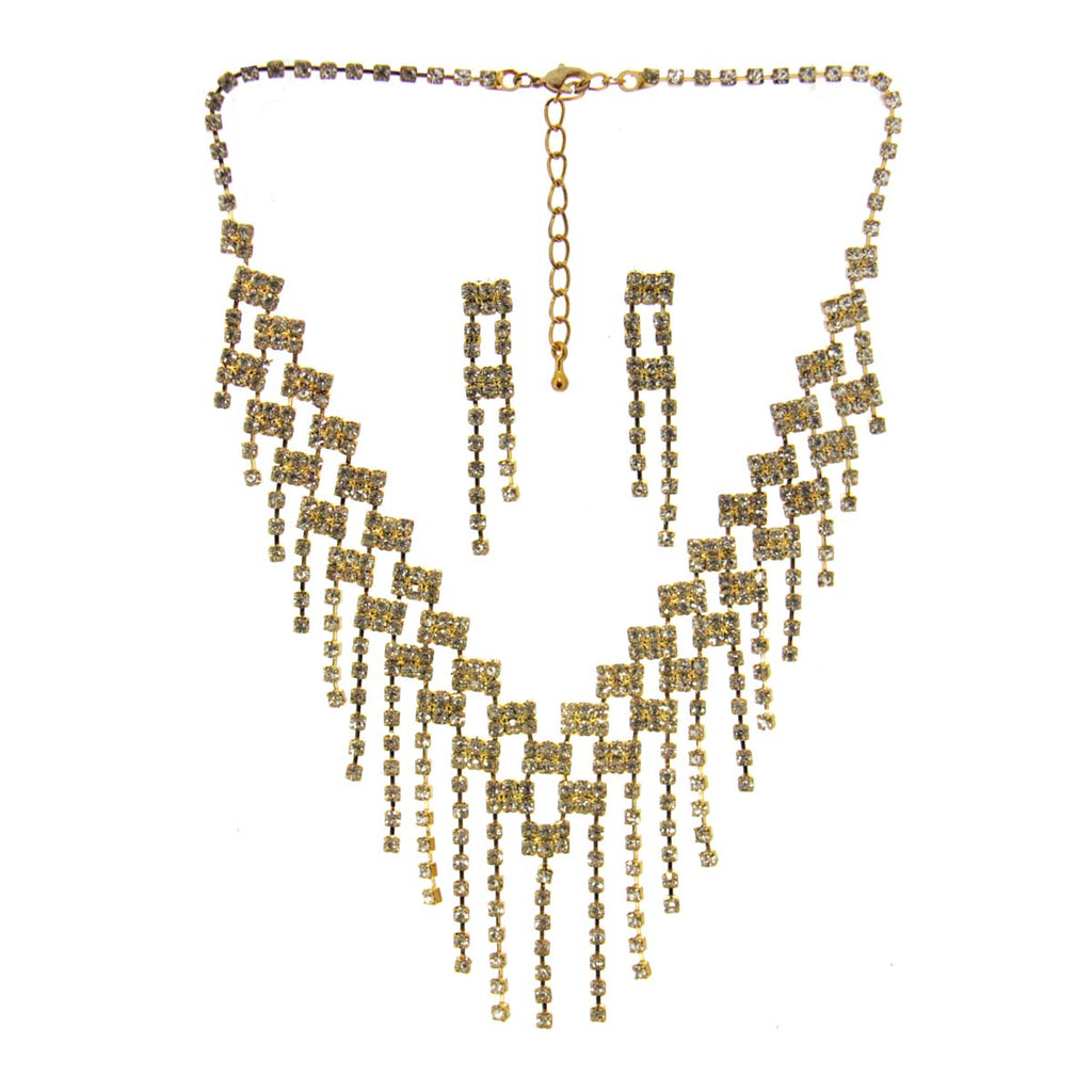 Rhinestone Necklace & Earrings Gold