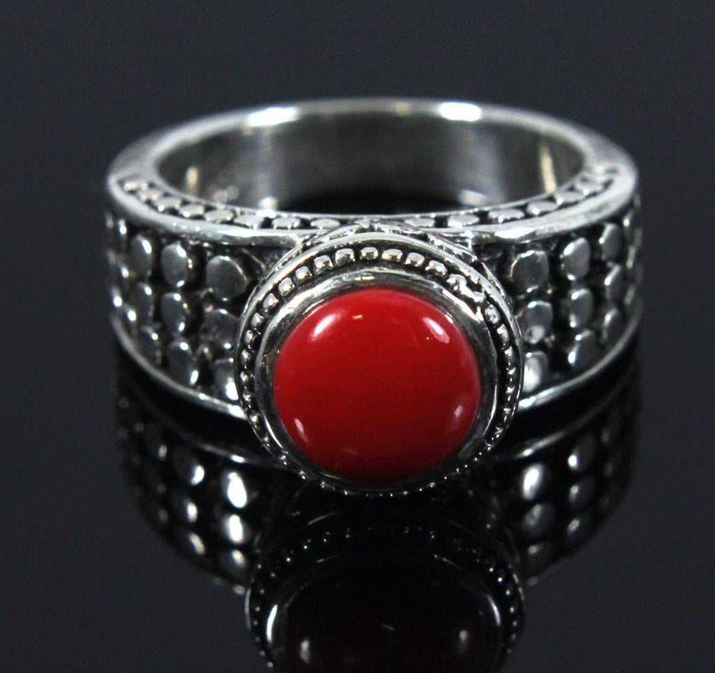 Sterling Silver Red Cabochon Size 9