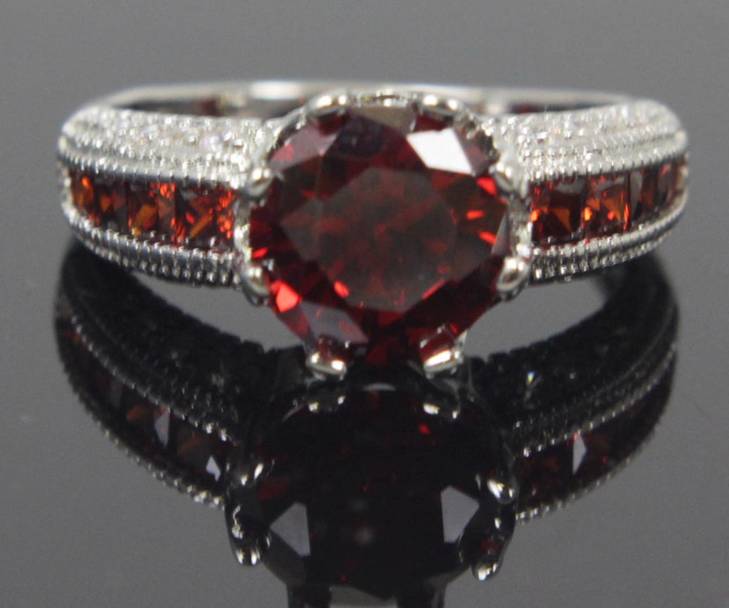 Plated Garnet Zirconia Ring Size 8