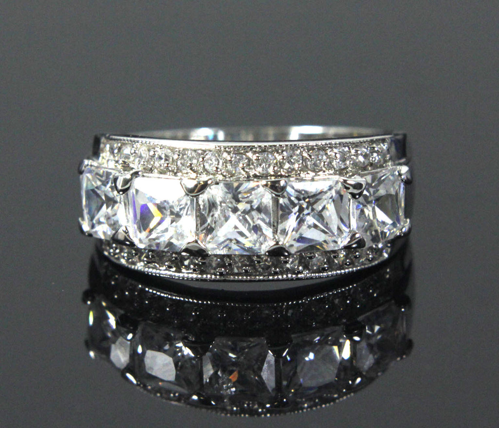Sterling Silver Diamond Zirconia size 7