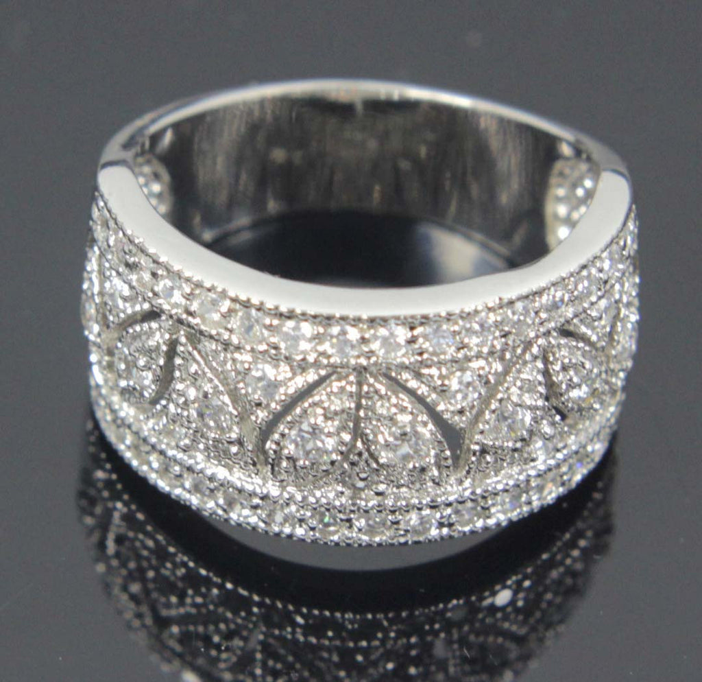 Sterling Silver Diamond CZ Marquise Design Size 9.5