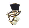 Mask & Top Hat Pin/Pendant, Black/Cream