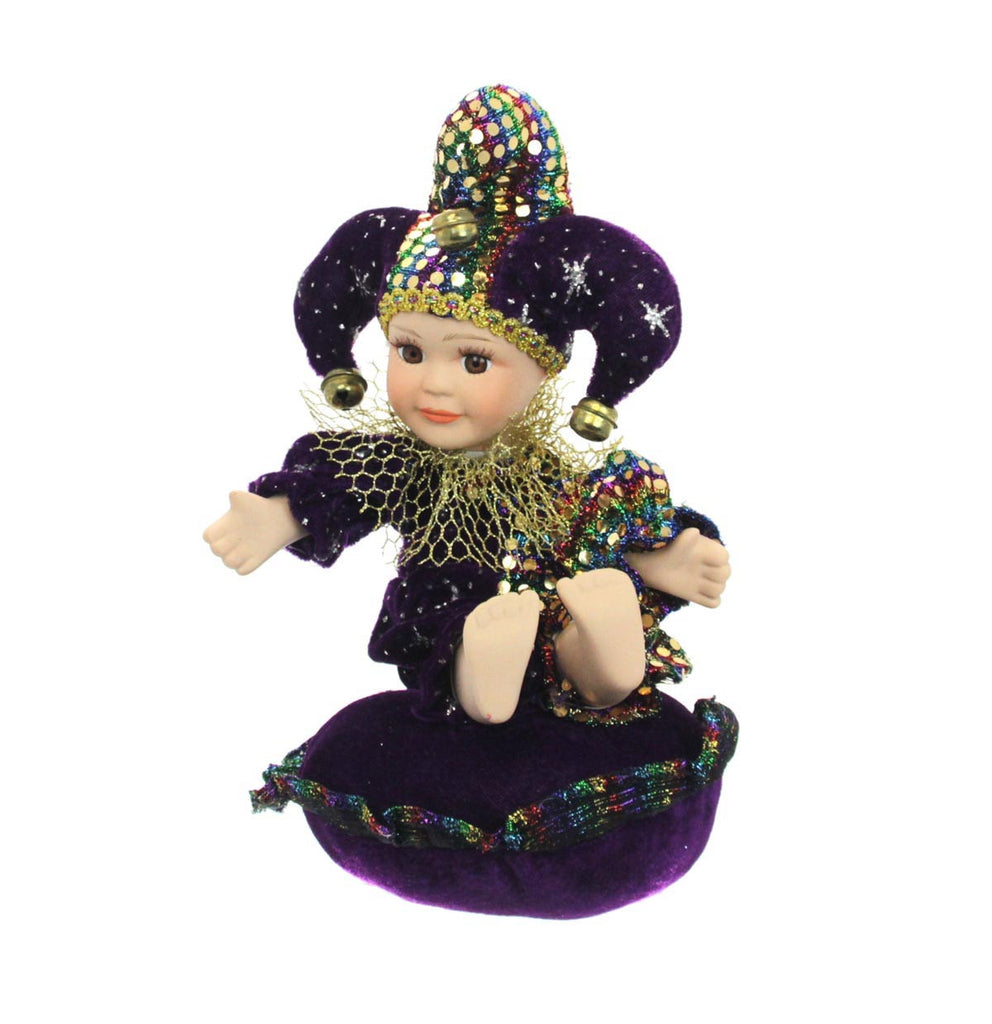 Mardi Gras Musical Doll Round Pillow