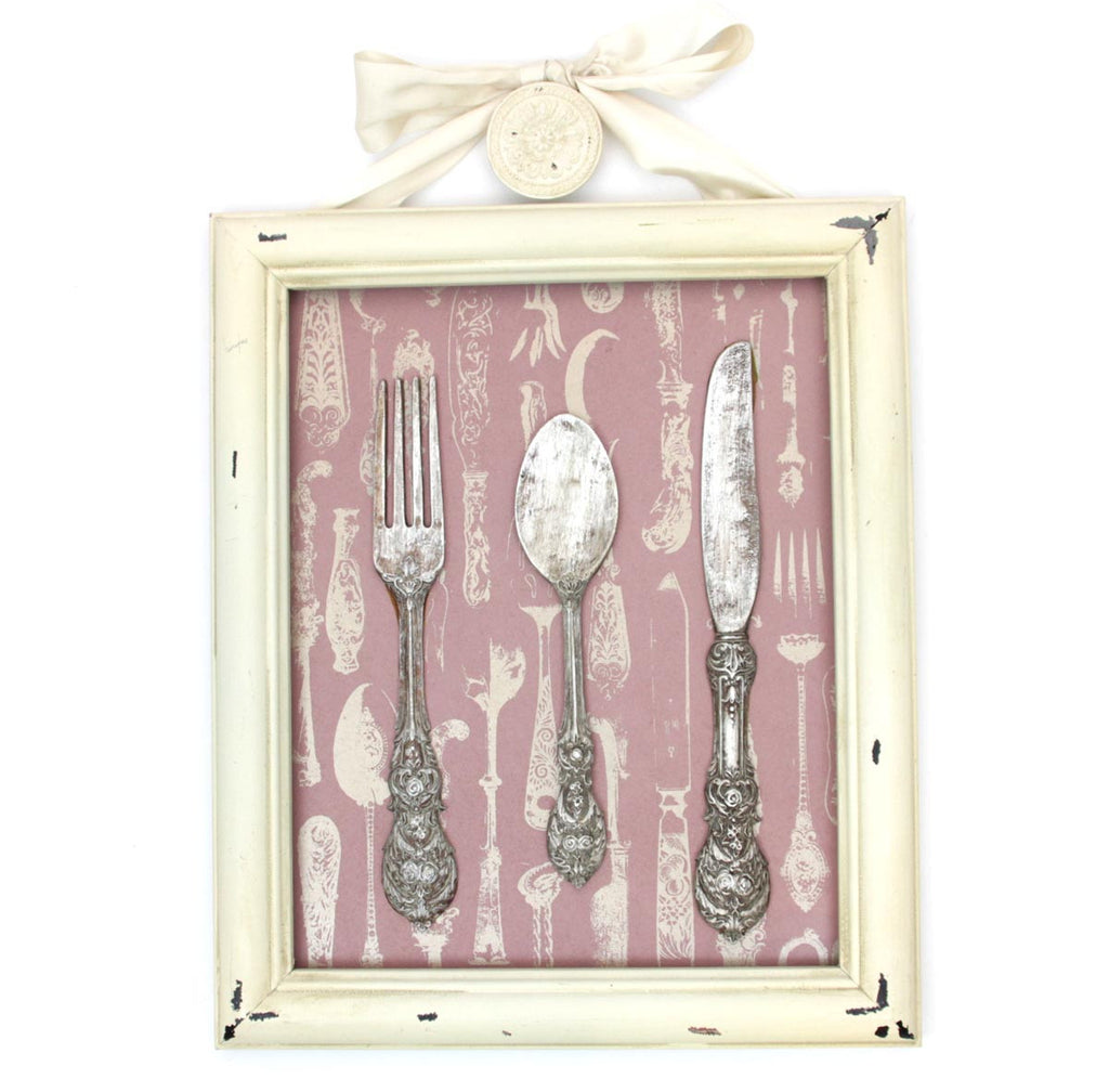 Cutlery Wall Plaque Pink