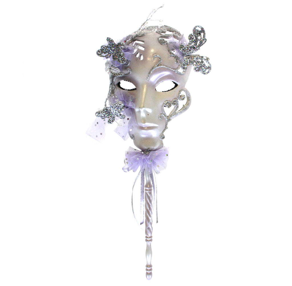 Mask on Stick with Butterflies - Lavender