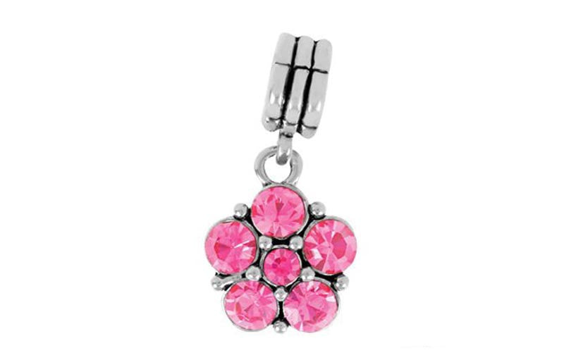 Pink Flower Dangle Bling Bling Bead