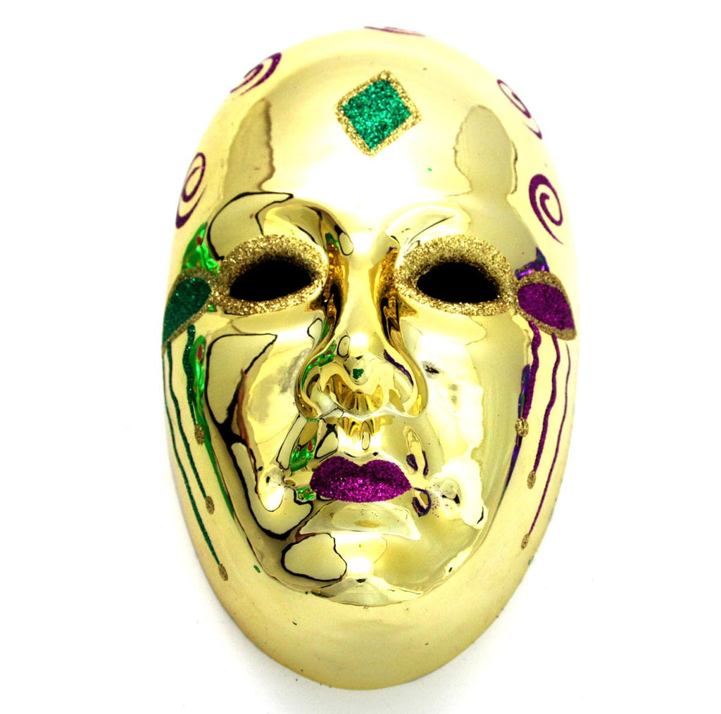 Full Face Mask Ornament Gold