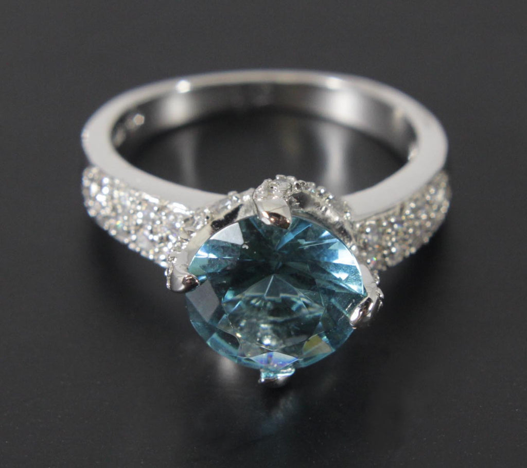 Sterling Silver Aquamarine Zirconia Ring Size 8