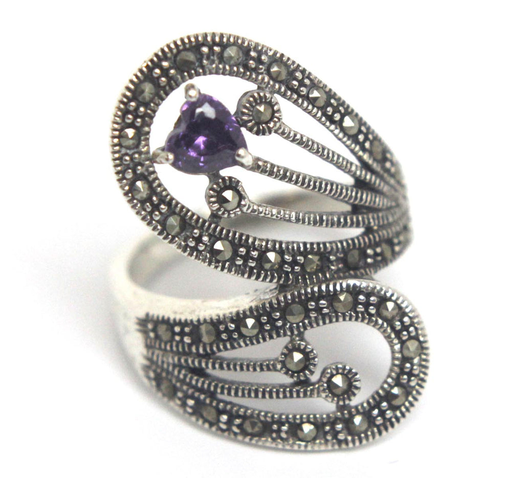 Sterling Silver Amethyst Marcasite Ring Size 8