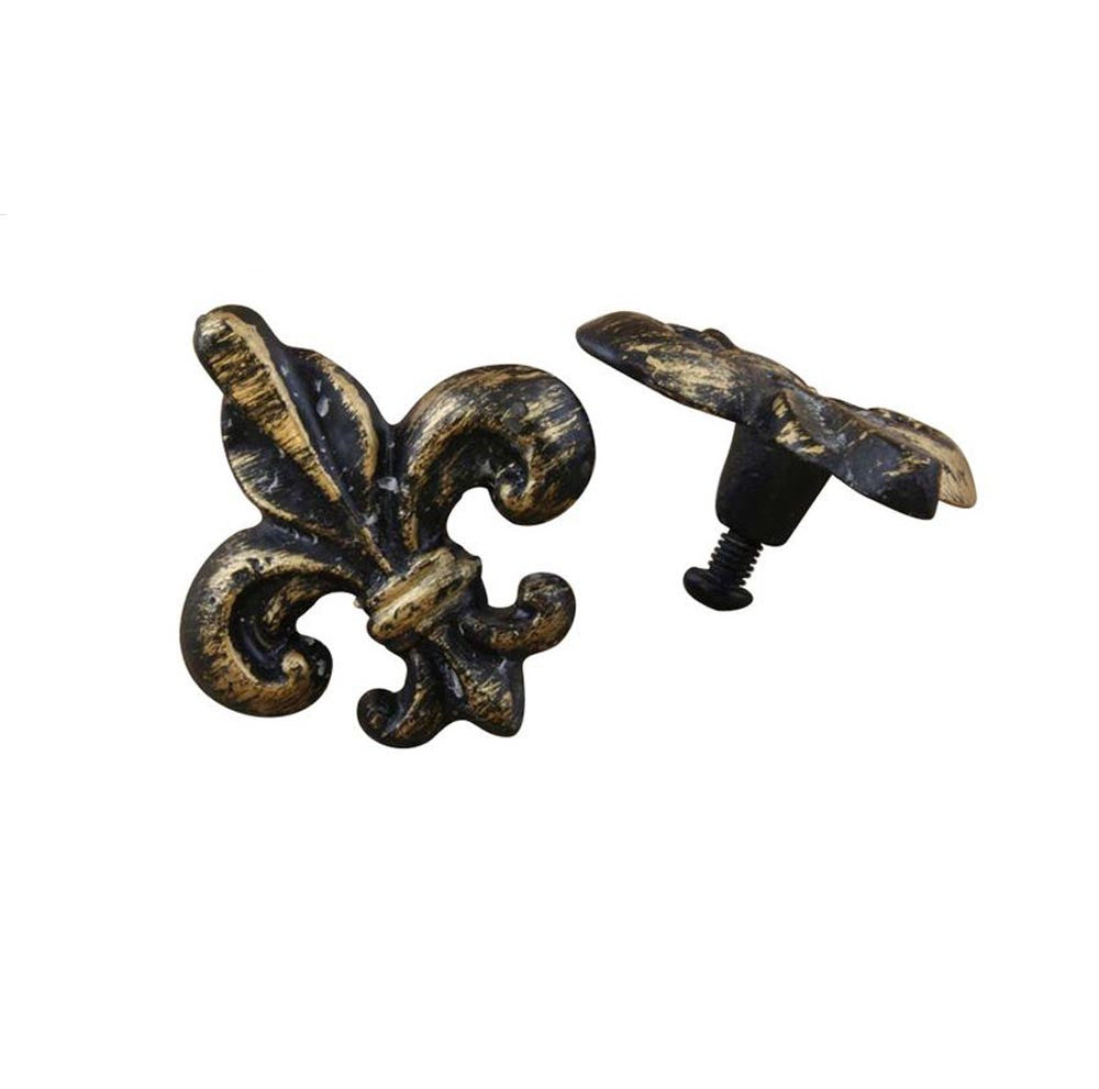Drawer Knobs Fleur De Lis Antiqued black