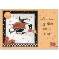 Halloween Card Car is a Broom