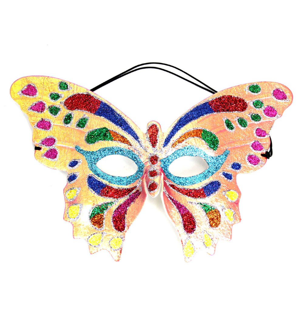 Butterfly Glitter Mask Coral