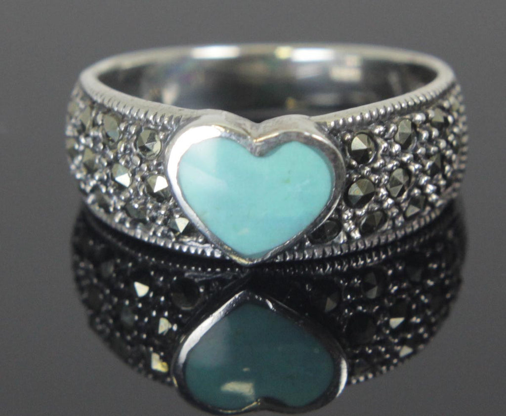 Sterling Silver Turquoise Heart Ring Size 8