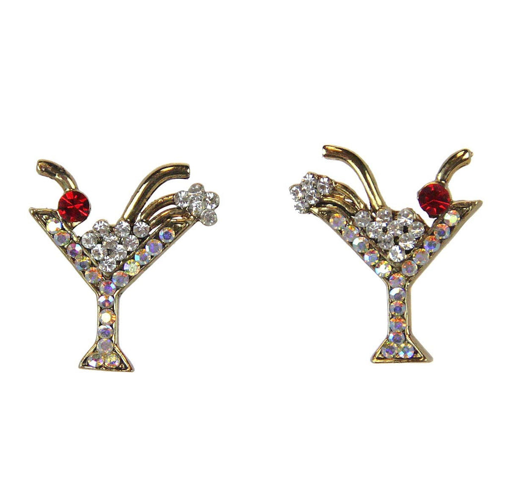 Martini Earrings Diamond Clear/AB Gold