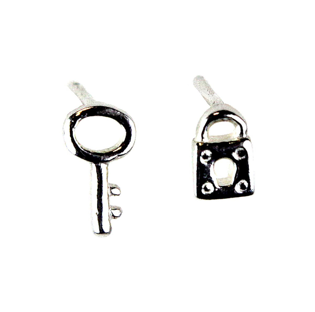 Lock and Key Stud Earrings .925