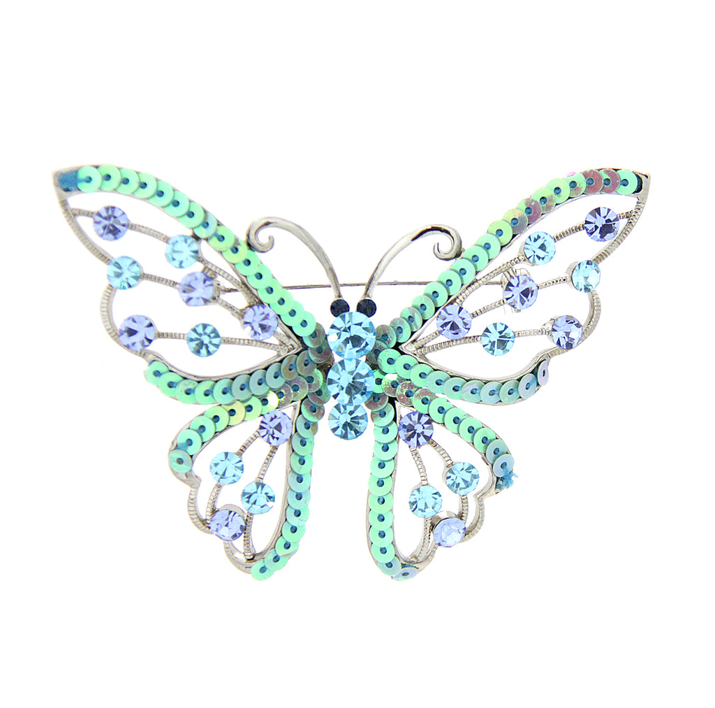Sequin Butterfly Pin Blue