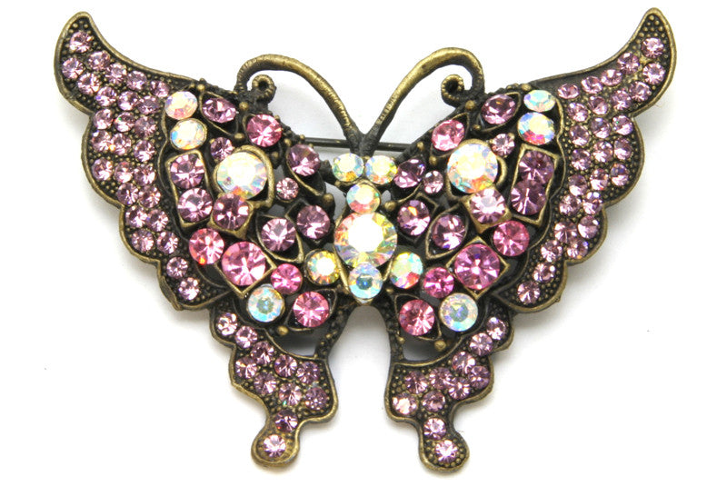 Butterfly Pin Pink Crystals