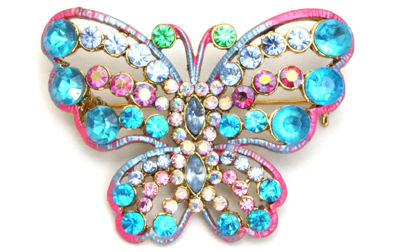 Butterfly Pin Blue and Pink