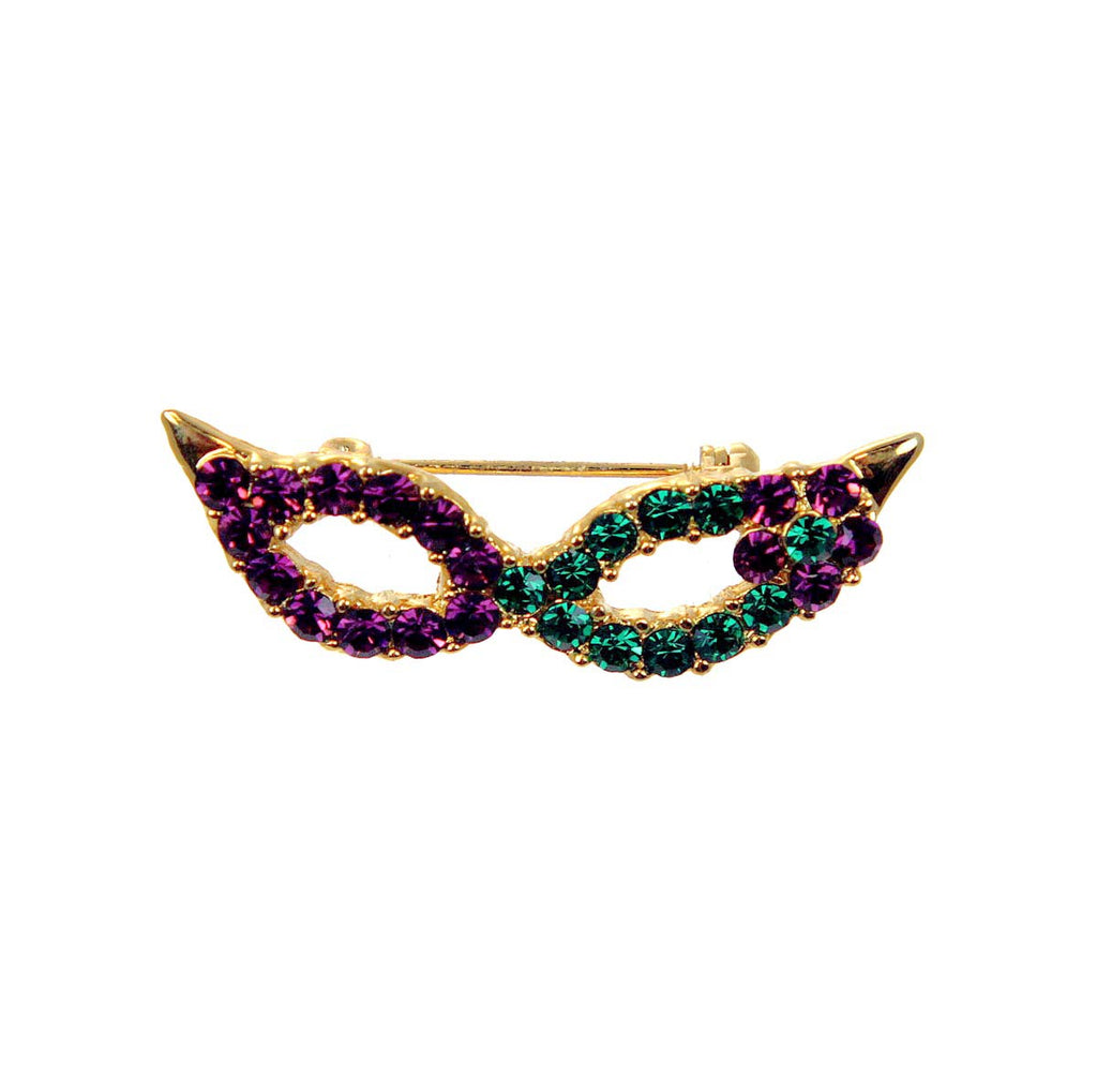 Cat Eye Mask Pin, Amethyst & Emerald Crystals