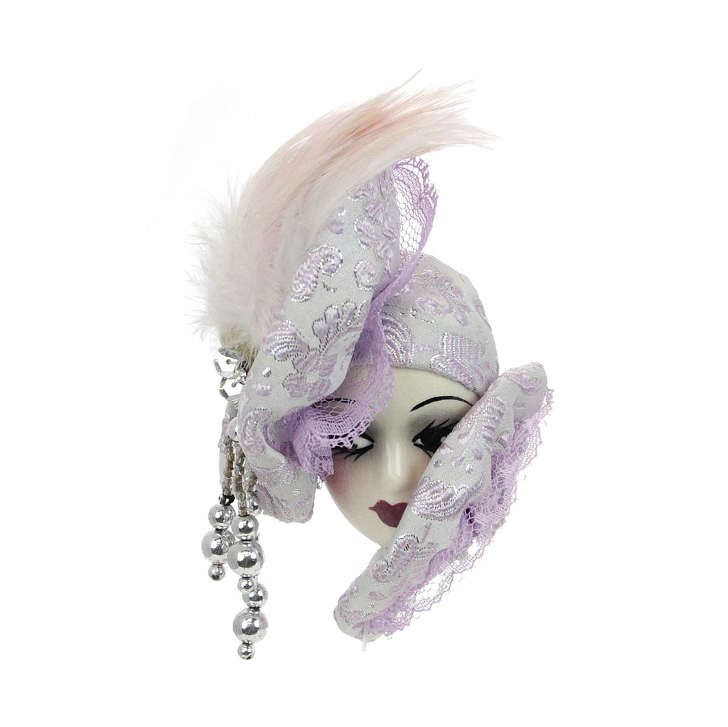Porcelain Lady Face Pin, Lavender