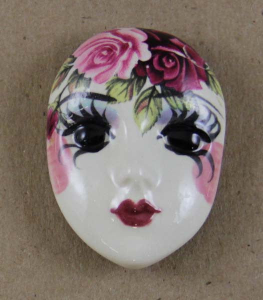 Button Cover, Porcelain Face w/Roses