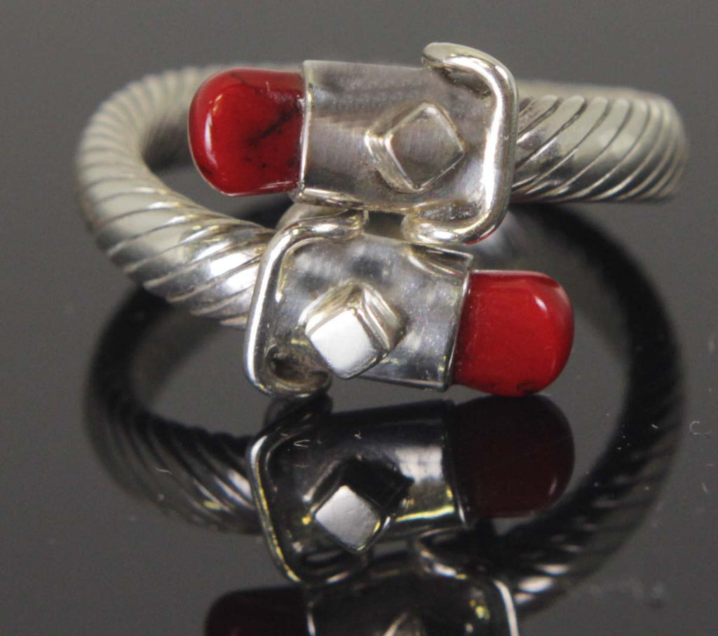 Sterling Silver Red Coral Ring Size 8