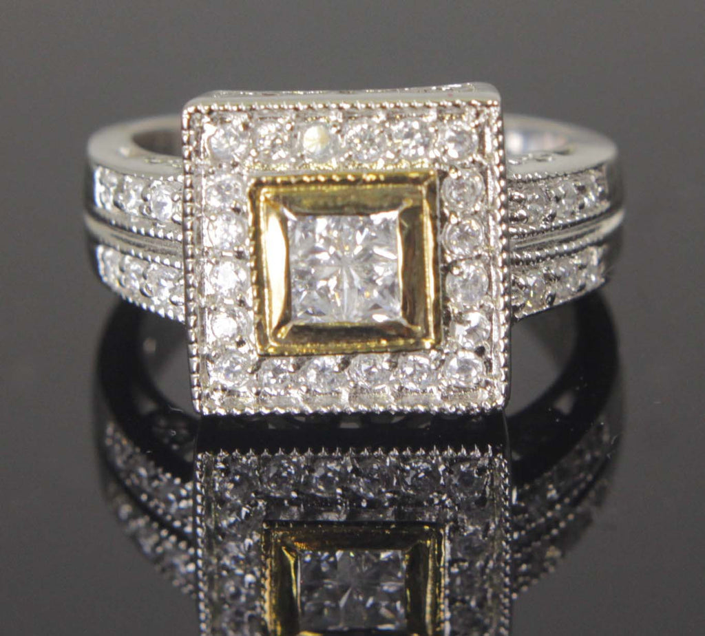 Sterling Silver Diamond CZ Square Ring Size 9