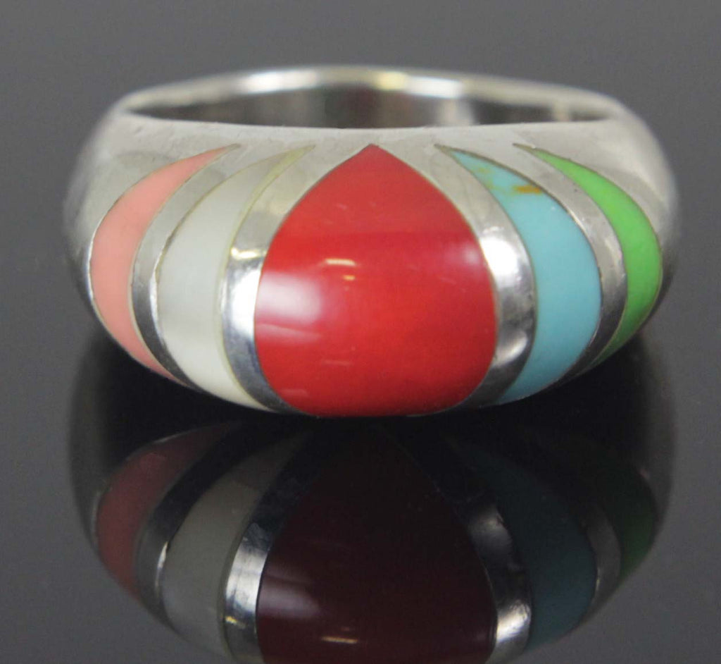 Sterling Silver Coral Pearl Turquoise Ring Size 8.5