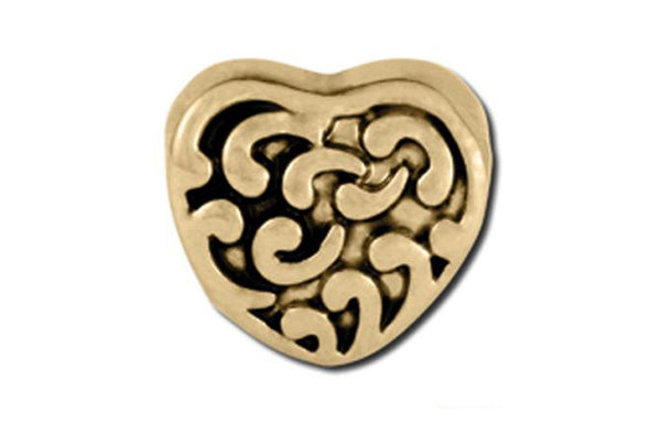 Antique Gold Baroque Heart Bead