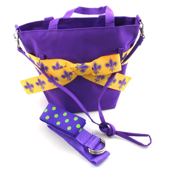 Fleur De Lis Purple Canvas Bag Small