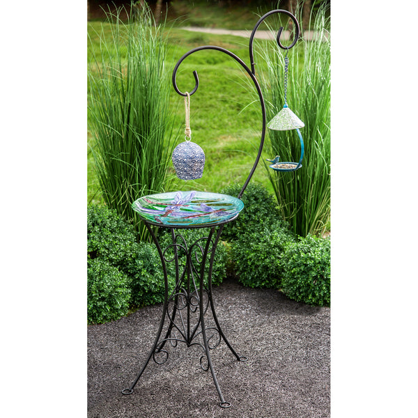 Decorative Metal Bird Bath Stand, Dual Shepherd's Hook