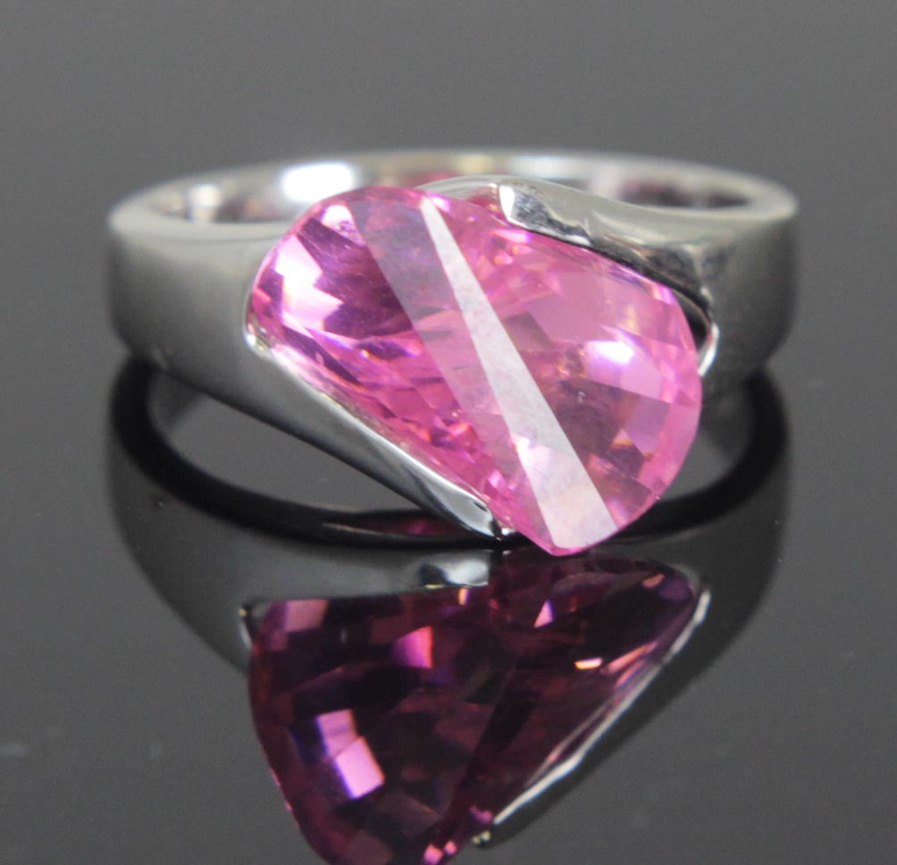 Plated Rose Zirconia Ring Size 8