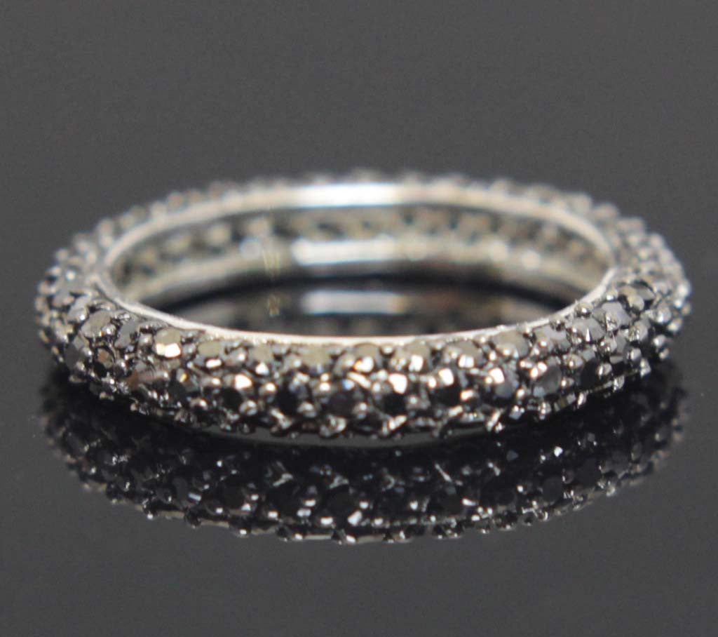 Sterling Silver Eternity Ring Onyx Zirconia Size 7