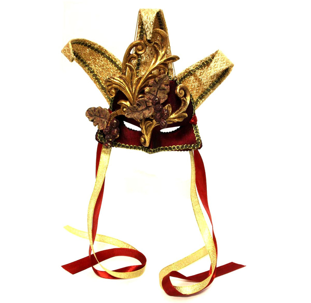 Harlequin Dangle Mask Gold/Red