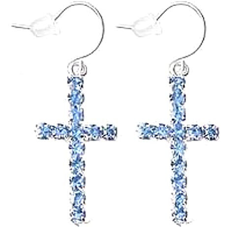 Cross Earrings Blue