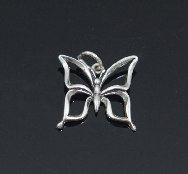 Butterfly Charm, Cut Out Wings, Sterling Silver