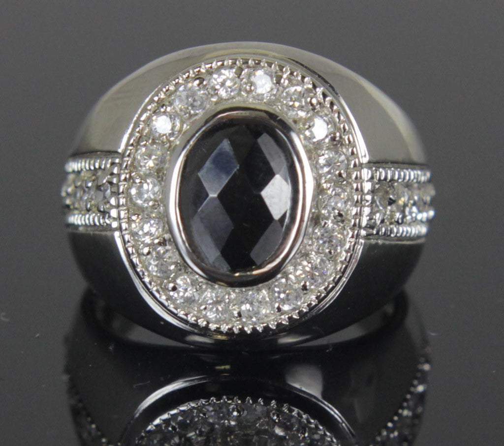 Sterling Silver Onyx CZ Oval Ring Size 7.5