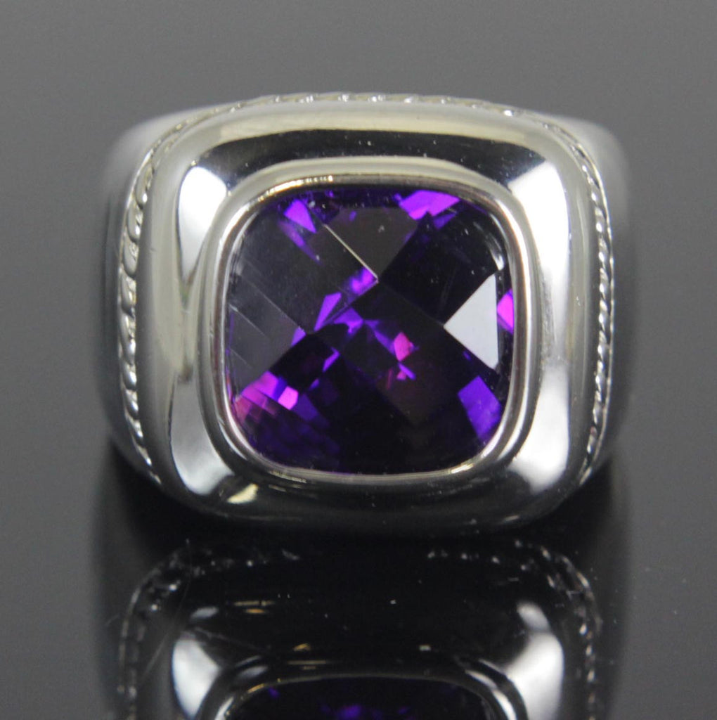 Sterling Silver Amethyst CZ Ring Size 8
