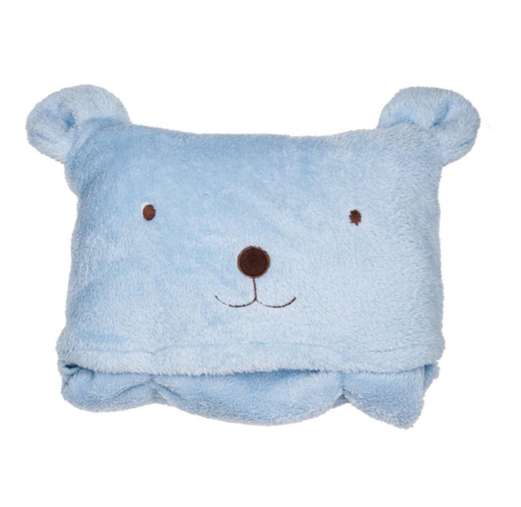 Bear Pocket Blanket - Blue