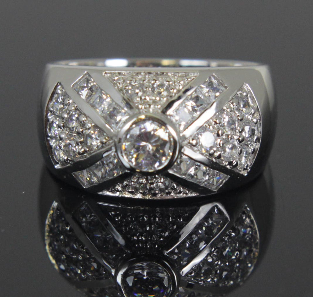 Sterling Silver Diamond CZ Ring Size 9