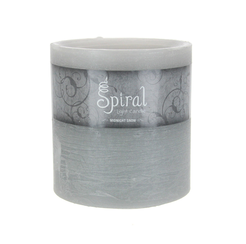 Spiral Light Candle-Midnight Snow 4x4