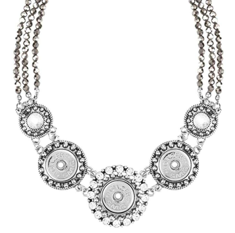 3 Snap Silver Facet Necklace Ginger Snaps