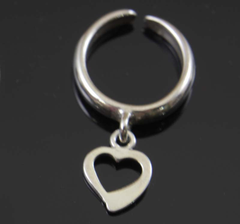 Sterling Silver Heart Charm Toe Ring