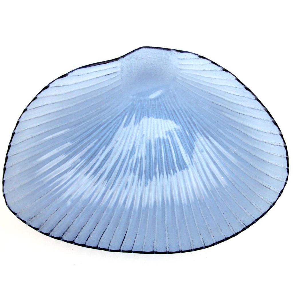 Blue Seashell Glass Plate Large
