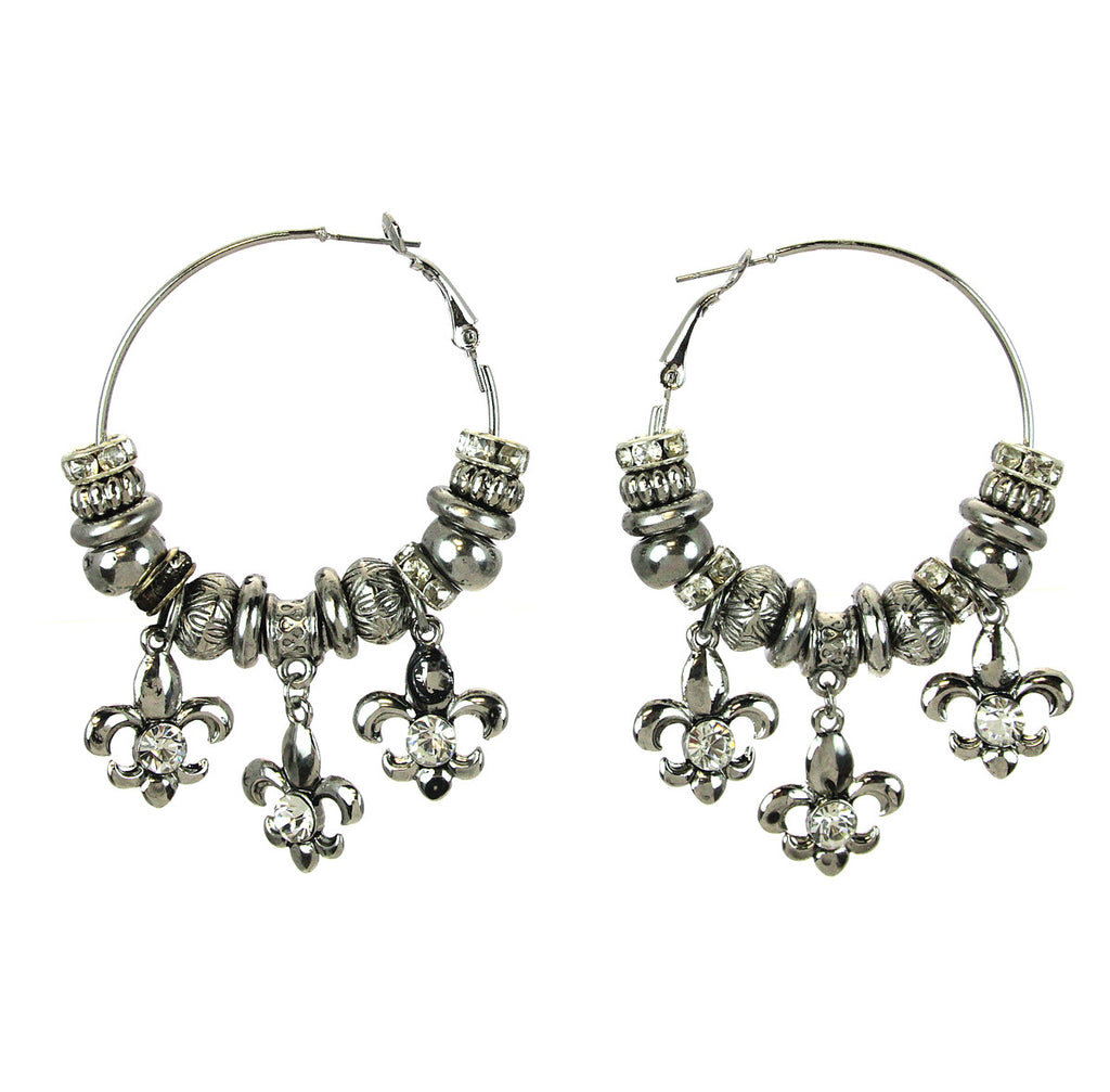 Fleur De Lis Charm Hoop Earrings